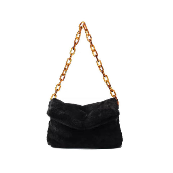 Faux fur shoulder bag with acrylic chain - CURATED by FS