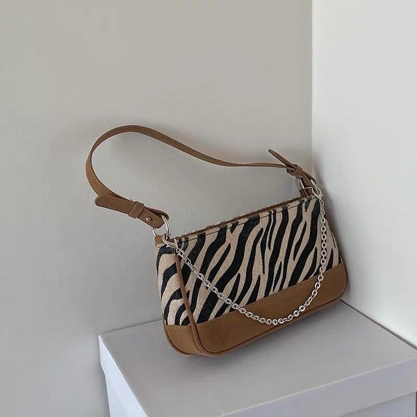 Zebra print 90s bag with chain - CURATED by FS