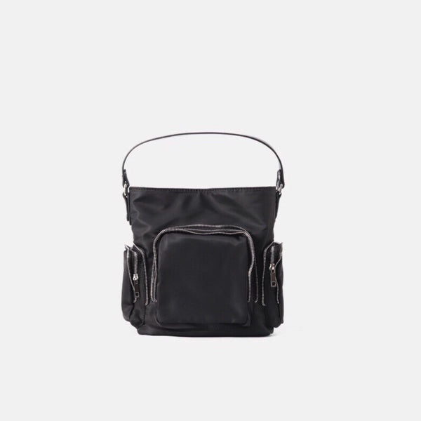 Nylon zipper shoulder bag in black - CURATED by FS