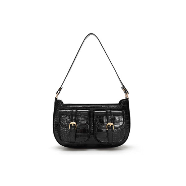 Croc effect shoulder bag with front pockets in black - CURATED by FS