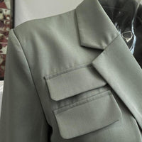Sage crop blazer with tie details - CURATED by FS