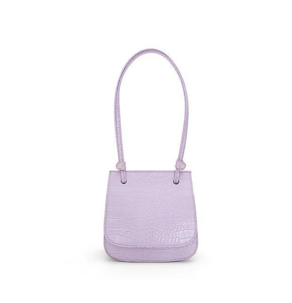 Croc effect flap top shoulder bag in lilac - CURATED by FS