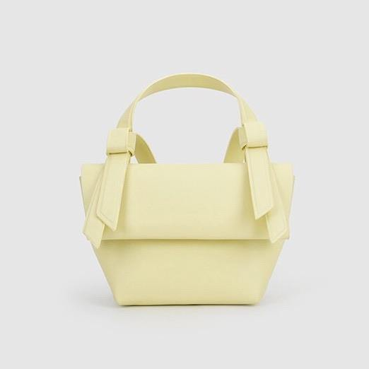 Knotty trapeze day bag in custard yellow - CURATED by FS