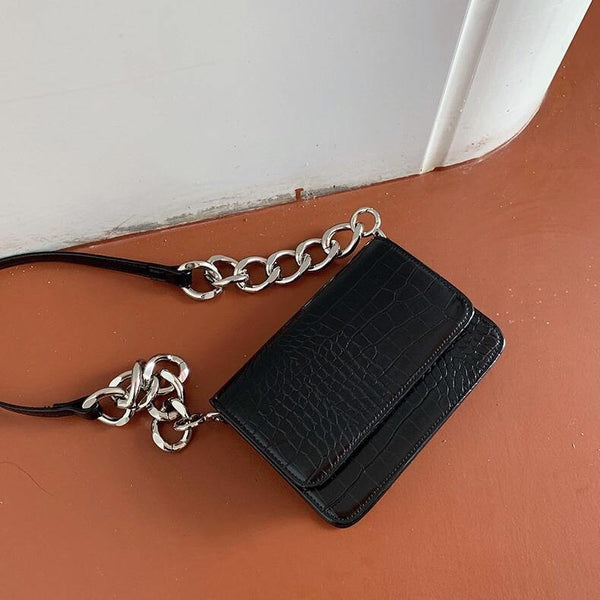 Croc effect crossbody bag in black - CURATED by FS