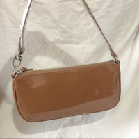 Brown vinyl 90s shoulder bag - CURATED by FS