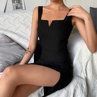 Square neck black dress - CURATED by FS