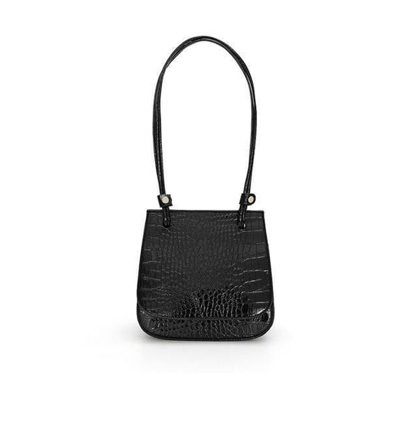 Croc effect flap top shoulder bag in black - CURATED by FS