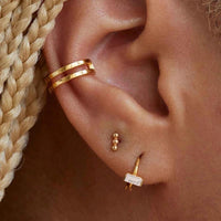 Mini CZ bar gold plated huggie earrings (more colors) - CURATED by FS