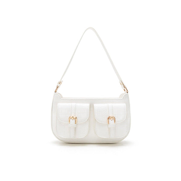 Croc effect shoulder bag with front pockets in white - CURATED by FS