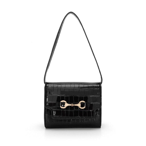 Croc effect oxford shoulder bag in black - CURATED by FS