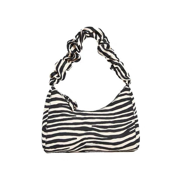 Zebra print ruffle handle shoulder bag - CURATED by FS