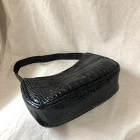 Croc effect hobo shoulder bag in black - CURATED by FS