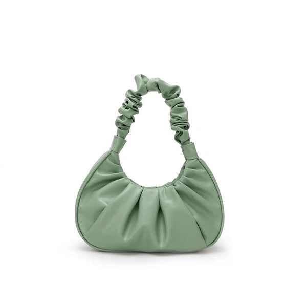 Ruched handle shoulder bag in green - CURATED by FS