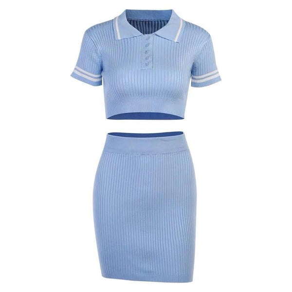Knit polo set in baby blue - CURATED by FS