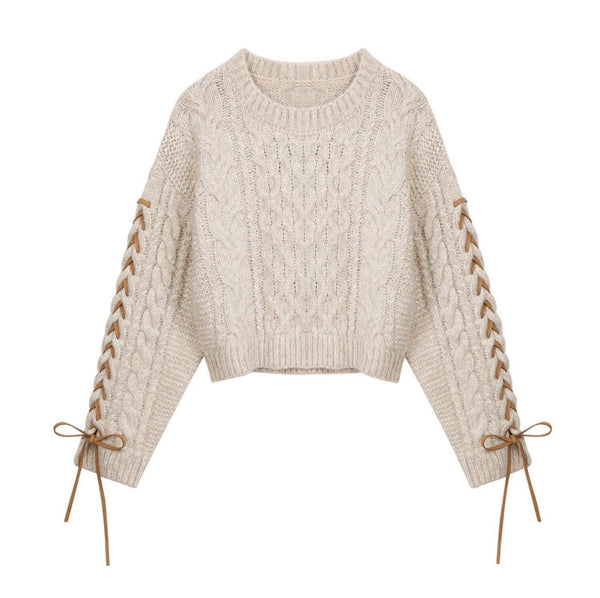 Beige cable knit sweater with lace up sleeves - CURATED by FS
