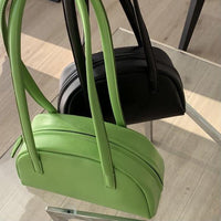 Half moon shoulder tote in lime - CURATED by FS