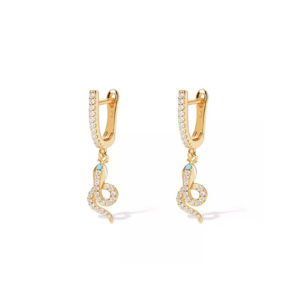 Gold snake CZ earrings (more colors) - CURATED by FS