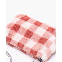 Checked fluffy shoulder bag with chain (3 colors) - CURATED by FS