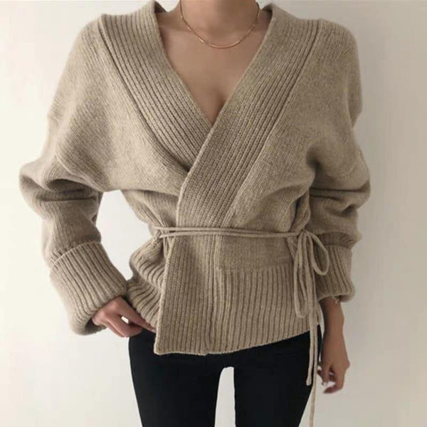 Wrap ribbed cardigan (2 colors) - CURATED by FS
