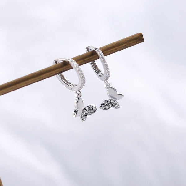Silver butterfly huggie earrings - CURATED by FS