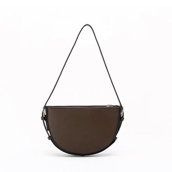 Half moon buckle strap shoulder bag in brown - CURATED by FS