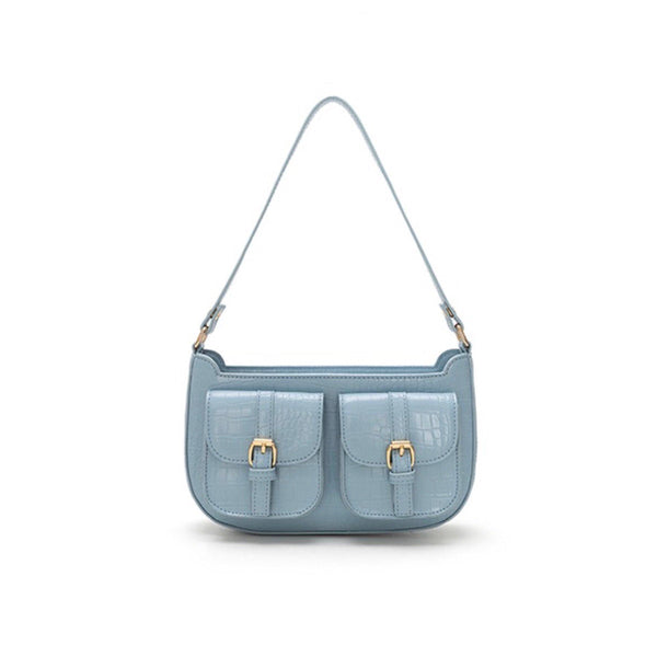Croc effect shoulder bag with front pockets in blue - CURATED by FS