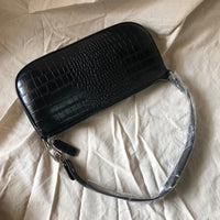 90s croc effect shoulder bag in black - CURATED by FS