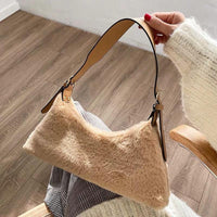 Faux shearling trapeze shoulder bag - CURATED by FS