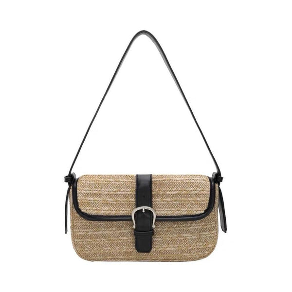 Buckle straw shoulder bag - CURATED by FS