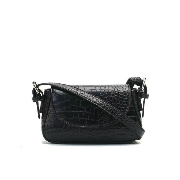 Croc effect mini shoulder bag in black