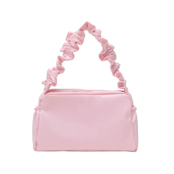 Nylon ruffle shoulder bag in pink - CURATED by FS