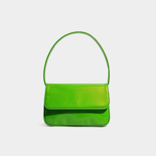 Vinyl shoulder bag in green