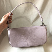 90s croc effect shoulder bag in lilac - CURATED by FS