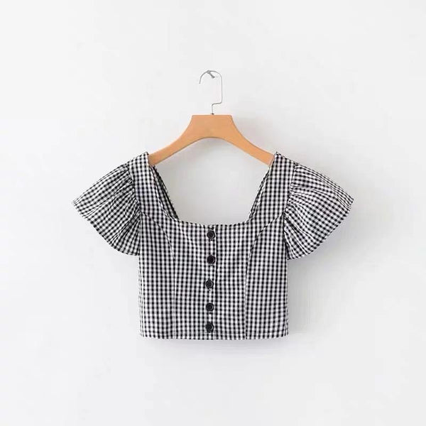Gingham top with frill sleeves - CURATED by FS