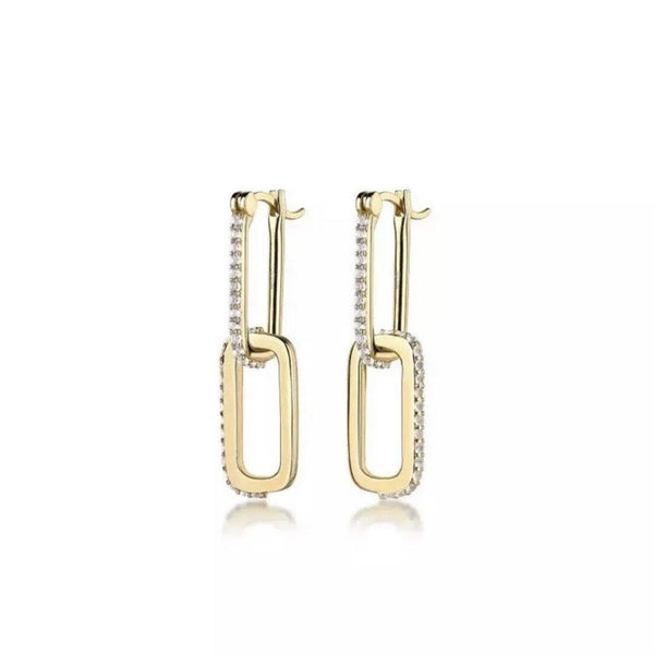 Gold plated cz links earrings - CURATED by FS