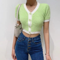 Mohair crop cardigan (2 colors) - CURATED by FS