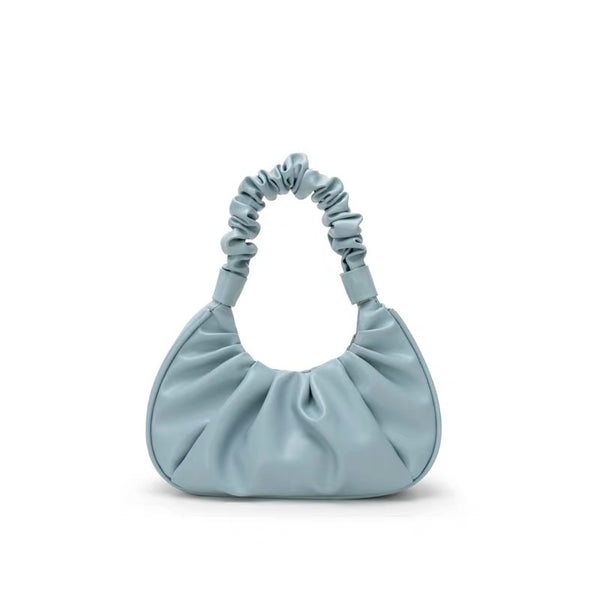 Ruched handle shoulder bag in blue - CURATED by FS