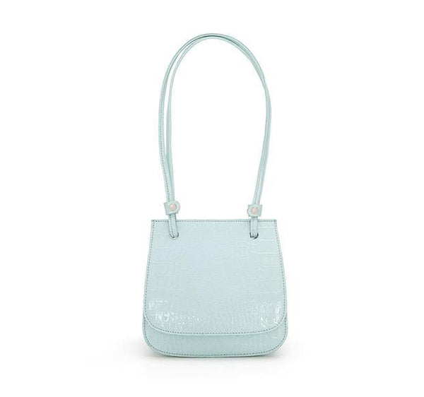 Croc effect flap top shoulder bag in mint - CURATED by FS