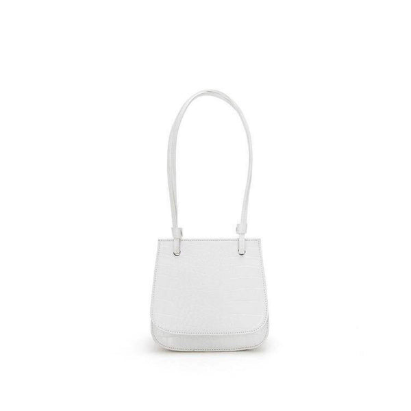 Croc effect flap top shoulder bag in white - CURATED by FS