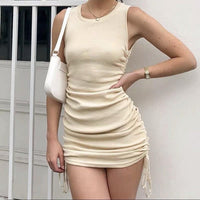 Crew neck bodycon with draw string details (3 colors) - CURATED by FS