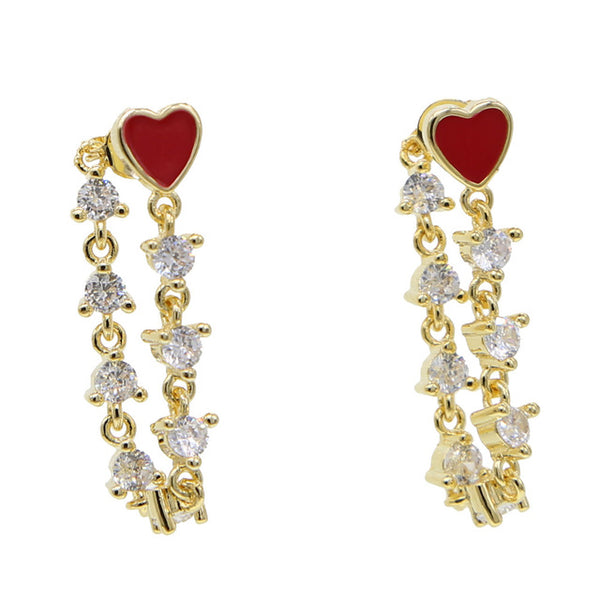 Red love heart earrings - CURATED by FS