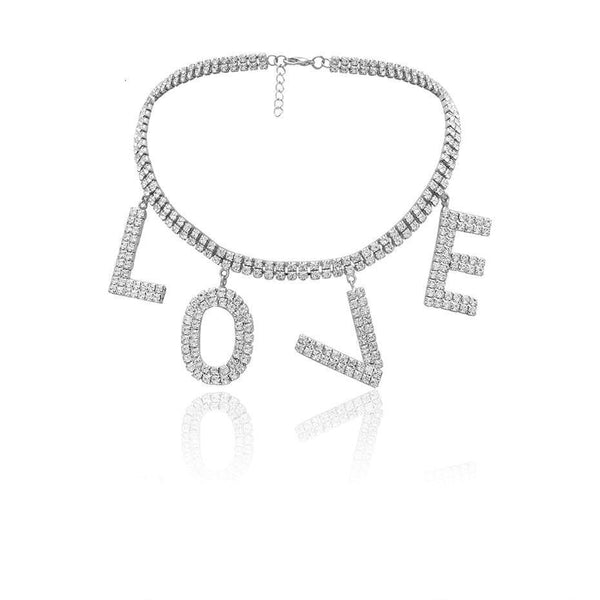 """LOVE"" rhinestones dangles choker necklace in silver tone - CURATED by FS"
