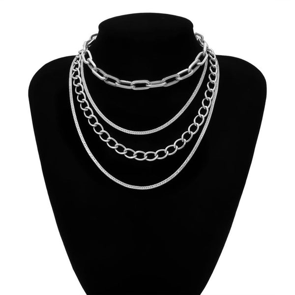 Multi chains necklace in silver tone - CURATED by FS