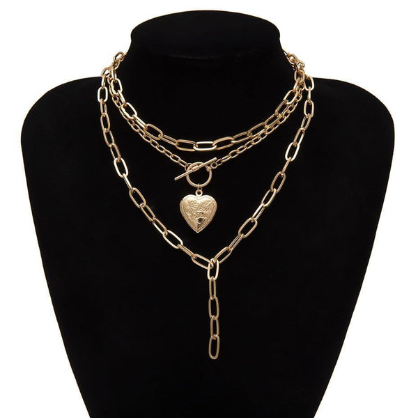 Hear locket layered necklace in gold tone - CURATED by FS
