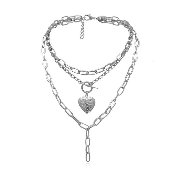 Hear locket layered necklace in silver tone - CURATED by FS