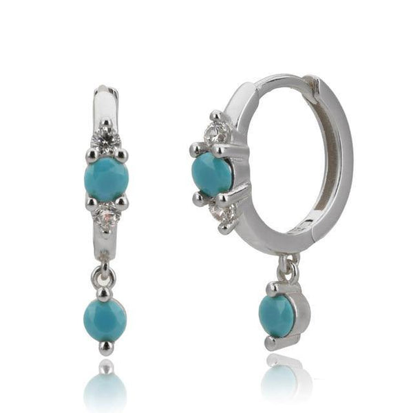 Turquoise huggie earrings in silver - CURATED by FS
