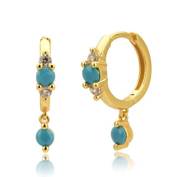 Turquoise huggie earrings in gold - CURATED by FS
