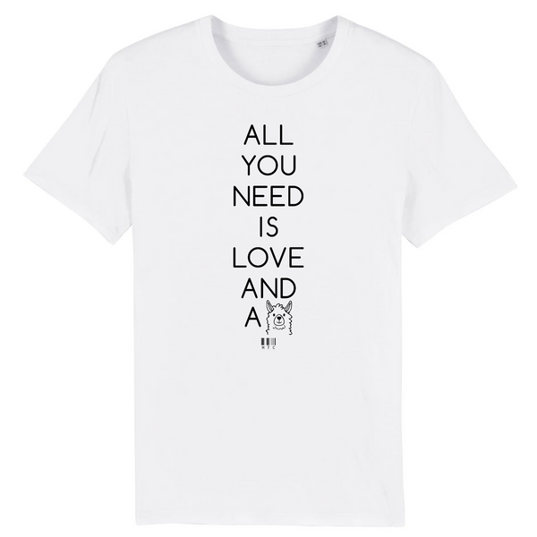 T-Shirt - All you need is Love and a Panda - Unisexe - Coton Bio - Cadeau Original - Cadeau Personnalisable - Cadeaux-Positifs.com -XS-Blanc-