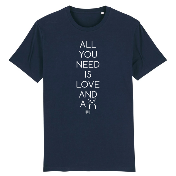 T-Shirt - All you need is Love and a Panda - Unisexe - Coton Bio - Cadeau Original - Cadeau Personnalisable - Cadeaux-Positifs.com -XS-Marine-