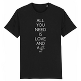 T-Shirt - All you need is Love and a Unicorn - Unisexe - Coton Bio - Cadeau Original - Cadeau Personnalisable - Cadeaux-Positifs.com -XS-Noir-